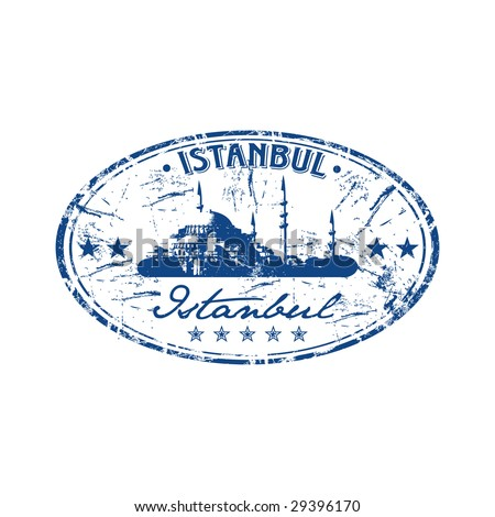 Grunge oval rubber stamp with the name of the capital of Turkey written inside the stamp. Istanbul - stock vector