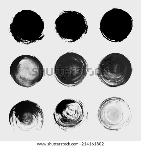 Grunge paint circle vector element set. Brush smear stain texture - stock vector