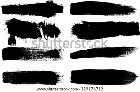 Grunge Paint stripe . Vector brush Stroke . Distressed banner . Black isolated paintbrush collection . Modern Textured shape . Dry border in Black  - stock vector