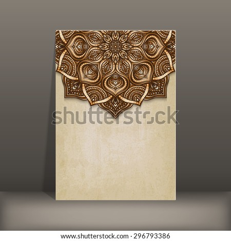 grunge paper card with brown floral circular pattern - vector illustration. eps 10