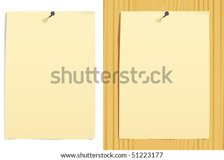 grunge paper sheet and nail on white and  wood texture(vector, CMYK) - stock vector