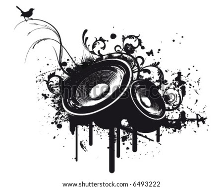 Grunge Party Box in Stereo - stock vector