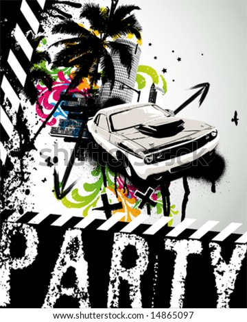 Grunge Party Car City Vector Illustration - stock vector