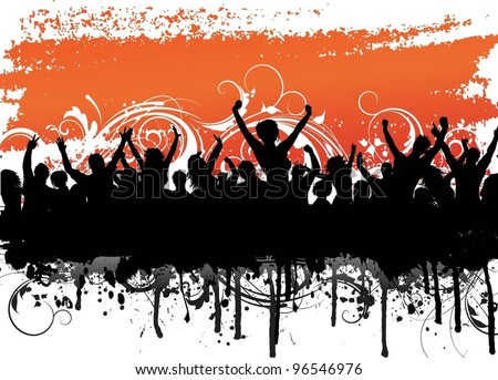 Grunge party crowd - stock vector