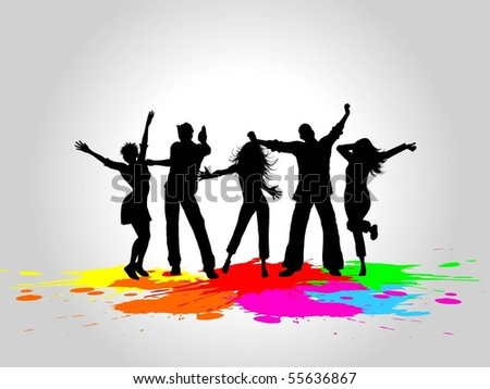 Grunge party people - stock vector