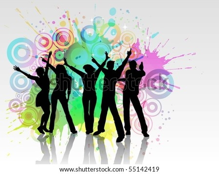 Grunge party people - EPS 10 - stock vector