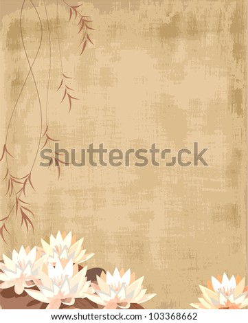 grunge pattern with lilies - stock vector