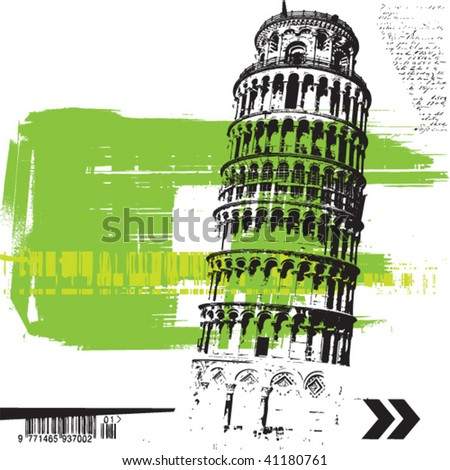 grunge pisa tower - stock vector