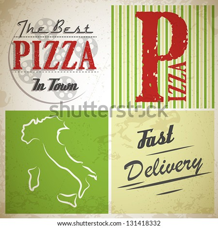 grunge pizza squares. pizza concept - stock vector