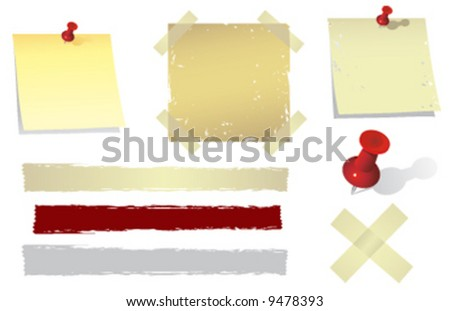Grunge Post-it notes with masking tape - stock vector