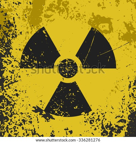 "Grunge poster ""Radioactive contamination"". Vector illustration of sign ""Radioactive contamination"" on grunge dirty yellow background. It can be used as a poster, wallpaper, t-shirts design. - stock vector"