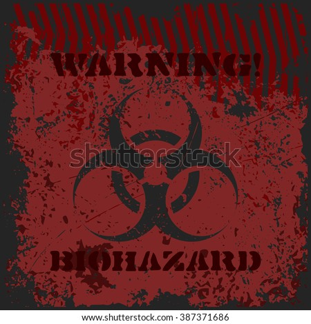 "Grunge poster ""Warning! Biohazard"". Vector illustration of biohazard sign with text and caution tape on grungy black and red background. It can be used as a poster, wallpaper, t-shirt design. - stock vector"