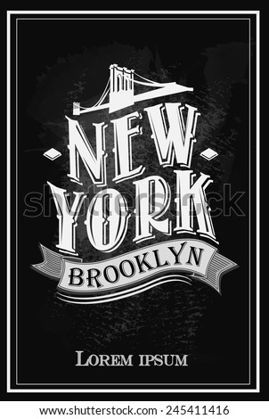 Grunge poster with name of New York,  vector illustration - stock vector