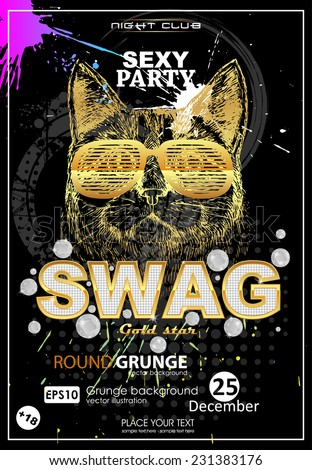Grunge print t-shirt swag. Abstract new grunge print. Swag party background - stock vector