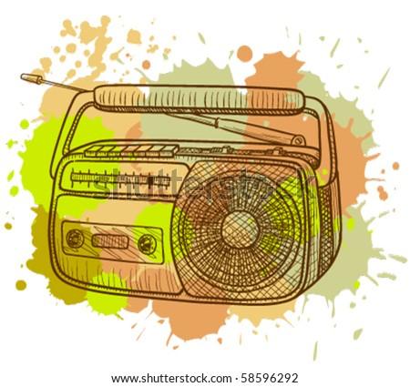 Grunge radio tape recorder - stock vector