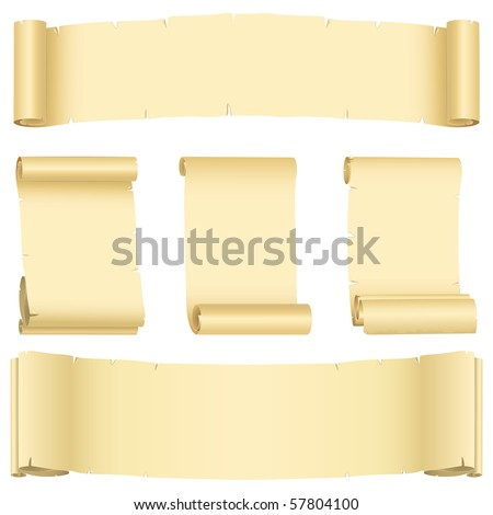 Grunge ragged banners  and scrolls set (vector, CMYK) - stock vector
