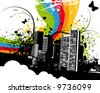 Grunge Rainbow City - stock vector