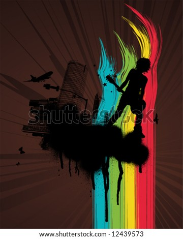 Grunge Rainbow City Guitar player - stock vector