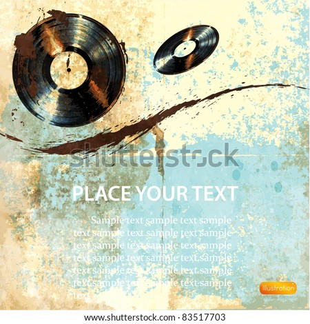 grunge record background - stock vector