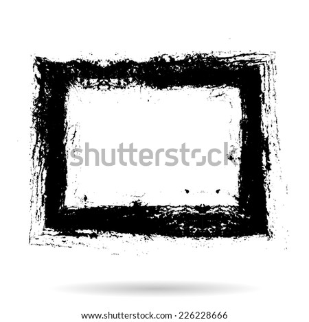 Grunge Rectangle Shape . Vector Illustration . Rubber Stamp Texture . Distressed Rectangle Frame . - stock vector