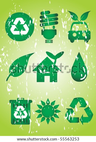Grunge recycle icon set