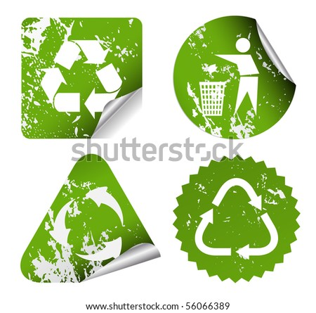 grunge recycle stickers - stock vector