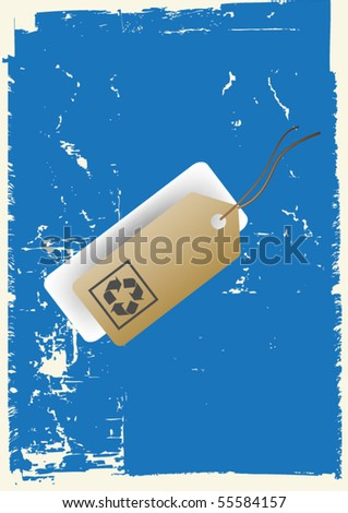 grunge recycle tag - stock vector