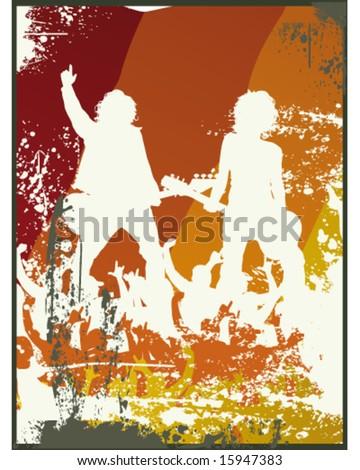 Grunge Retro Band Illustration - stock vector
