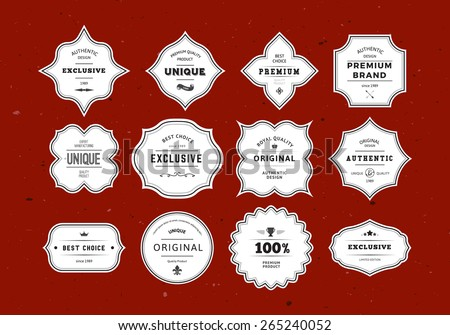 Grunge Retro Labels Set. Vintage Vector Design Elements for Packaging, Identity, Logos, Labels and Badges. - stock vector