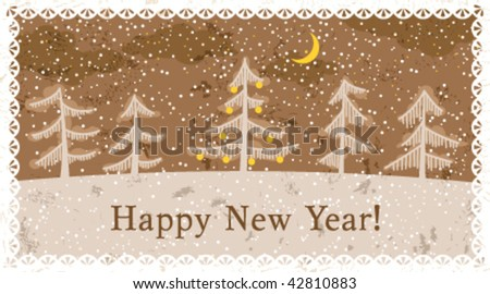 Grunge retro New Year card, vector illustration