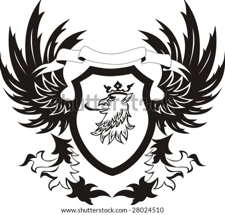 Grunge retro shield with griffon head - stock vector