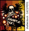 Grunge Retro Skull Poster Vector Illustration - stock vector