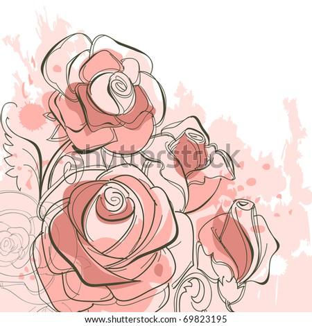 Grunge roses - stock vector