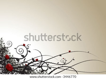 Grunge roses flora pattern background - stock vector