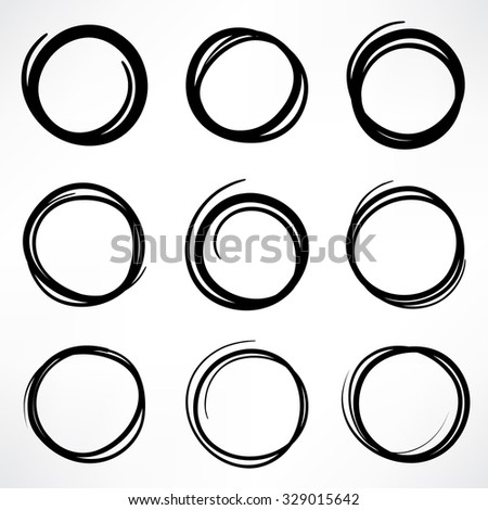 Grunge round shape set of scribble circles, hand drawn doodle sketch design elements - stock vector