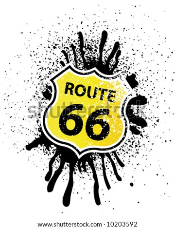 Grunge Route 66 Shield shaped Sign - stock vector