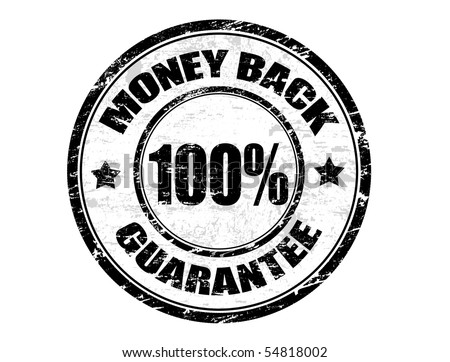 Grunge rubber ink stamp with the text  MONEY BACK 100% GUARANTEE - stock vector