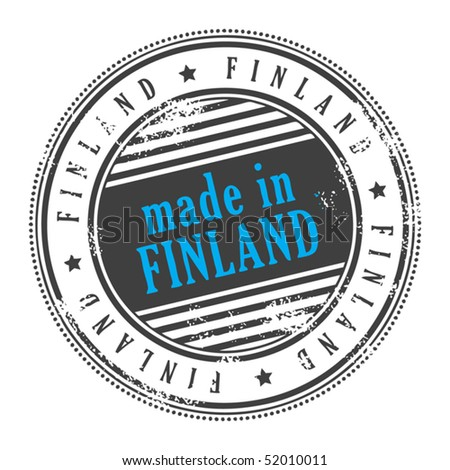 Grunge rubber stamp made in Finland, vector illustration