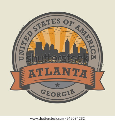 Grunge rubber stamp or label with name of Atlanta, Georgia, vector illustration - stock vector