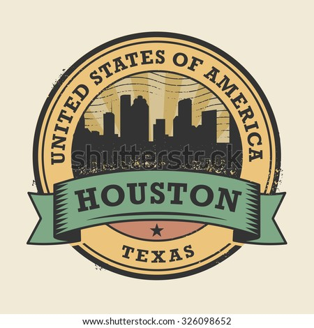 Grunge rubber stamp or label with name of Texas, Houston, vector illustration - stock vector