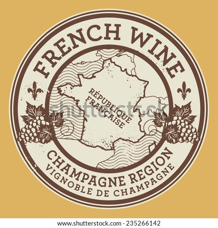 Grunge rubber stamp or label with words French Wine, Champagne Region, vector illustration - stock vector