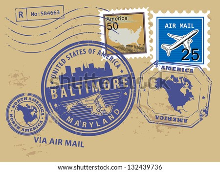 Grunge rubber stamp set with name of Maryland, Baltimore, vector illustration
