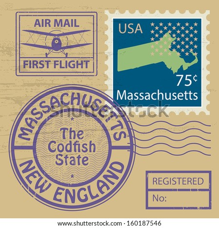 Grunge rubber stamp set with name of Massachusetts, vector illustration