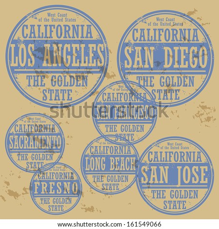 Grunge rubber stamp set with names of California cities, vector illustration - stock vector