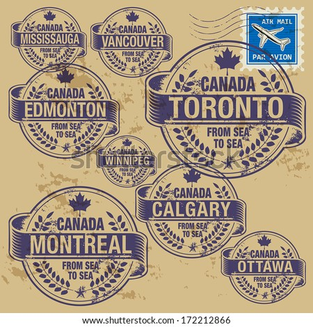 Grunge rubber stamp set with names of Canada cities, vector illustration - stock vector