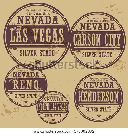 Grunge rubber stamp set with names of Nevada cities, vector illustration - stock vector