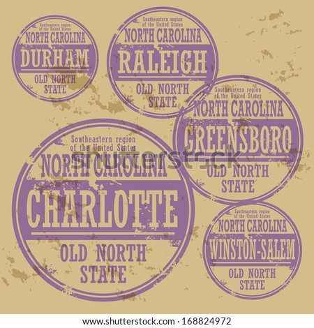 Grunge rubber stamp set with names of North Carolina cities, vector illustration - stock vector