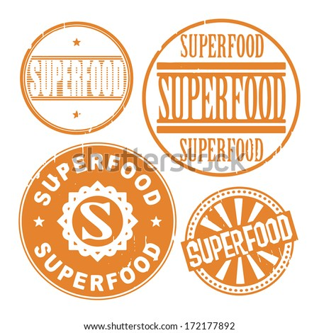Grunge rubber stamp set with the text Super food written inside the stamp, vector illustration - stock vector