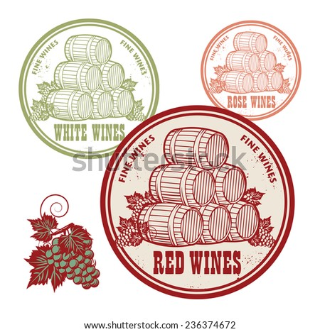 Grunge rubber stamp set with words Red, White and Rose Wines, vector illustration - stock vector