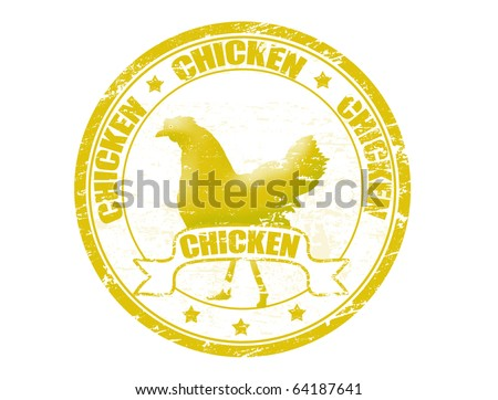 Grunge rubber stamp with a chicken silhouette and the word chicken written inside the stamp - stock vector